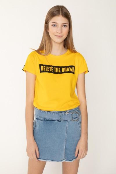 Żółty T-shirt DELETE the DRAMA