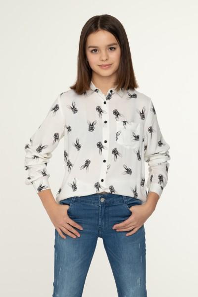 Koszula z wiskozy w buldogi z przedłużonym tyłem
