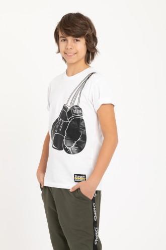 Biały T-shirt dla chłopaka BOXING