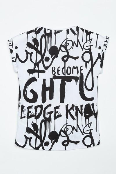 Biały T-shirt dla dziewczyny GRAFFITI