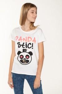 Biały T-shirt dla dziewczyny PANDA