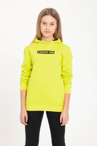 Cytrynowa bluza z kapturem dla dziewczyny LUCKY ME