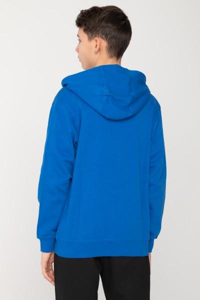 Niebieska bluza rozpinana z kapturem