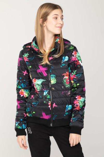 Czarna przejściowa kurtka pikowana dla dziewczyny w kwiaty