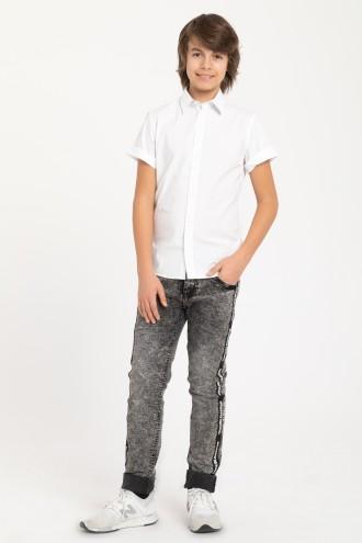 Szare jeansy dla chłopaka z taśmami z boku