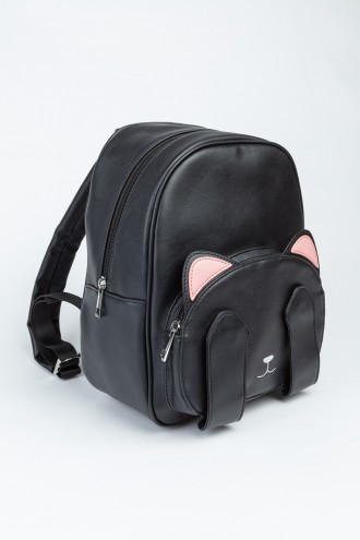 Czarny plecak z różowymi uszami