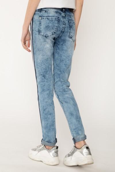 Marmurkowe jeansy z ozdobnymi lampasami dla dziewczyny