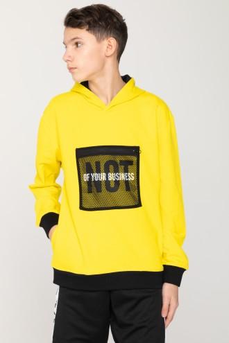 Żółta bluza z kapturem i kieszonką na przodzie NOT