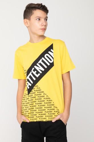 Żółty T-shirt dla chłopaka ATTENTION
