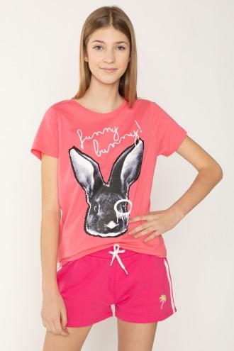 Różowy T-shirt dla dziewczyny FUNNY BUNNY