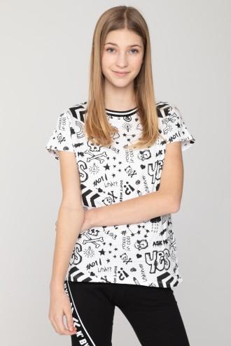 Biały T-shirt z nadrukami dla dziewczyny YES