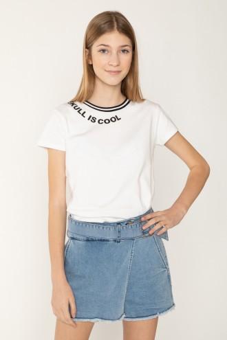 Biały T-shirt dla dziewczny SKULL IS COOL