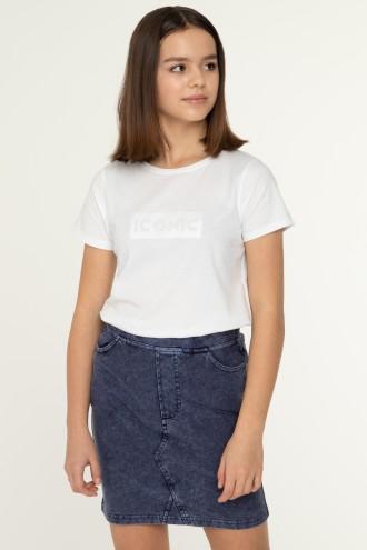 Biały T-shirt dla dziewczny ICONIC