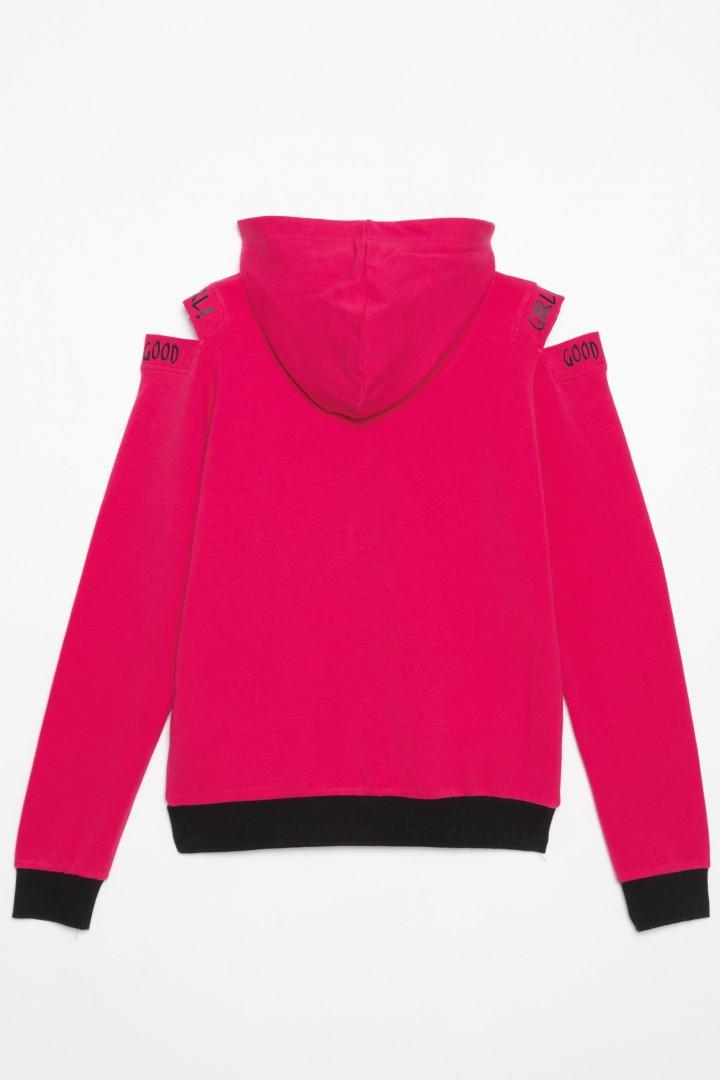 Różowa bluza z kapturem typu cold shoulder dla dziewczyny
