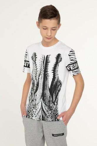 Biały T-shirt dla chłopaka CROCODILE