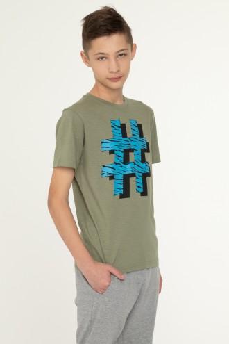 T-shirt w kolorze khaki dla chłopaka HASHTAG