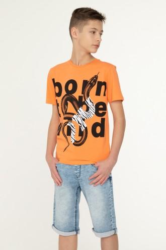 Pomarańczowy T-shirt dla chłopaka SNAKE