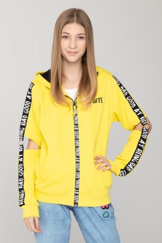 Żółta bluza z kapturem z taśmami na rękawach