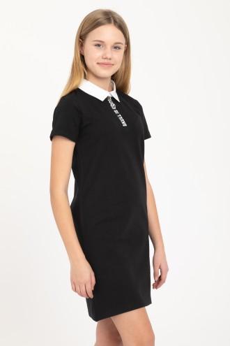 Czarna sukienka z kołnierzykiem SKULL IS COOL