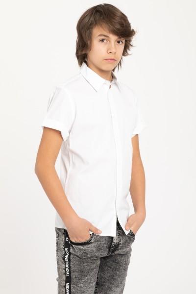 Koszula z krótkim rękawem da chłopaka, biała | Sklep  ZWj3u