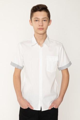 Biała koszula z krótkim rękawkiem i szarymi wstawkami dla chłopaka