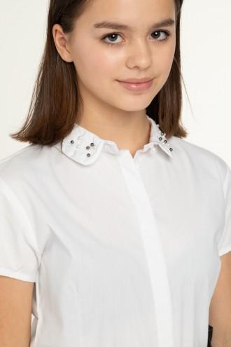 Biała koszula dziewczęca z perełkami na kołnierzyku