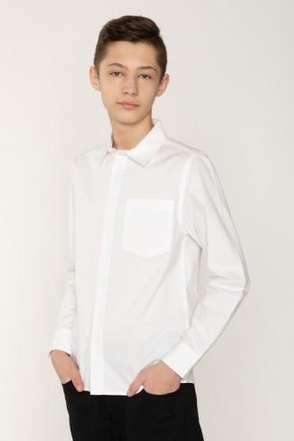 Klasyczna biała koszula dla chłopaka  z ukrytymi guzikami