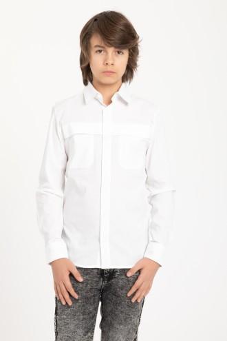 Elegancka biała koszula chłopięca z zakładką na froncie
