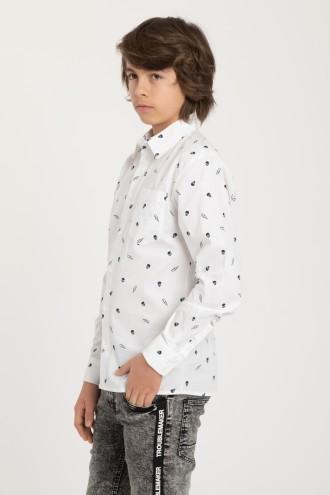 Biała koszula w czaszki dla chłopaka
