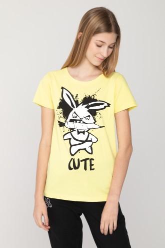 Żółty dziewczęcy T-shirt CUTE