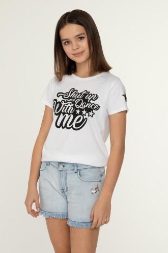 Biały T-shirt z nadrukiem DANCE WITH ME