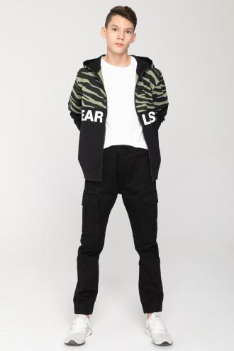 Czarne spodnie z kieszeniami cargo dla chłopaka