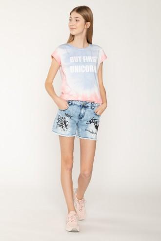 Jeansowe szorty z nadrukiem graffitti dla dziewczyny