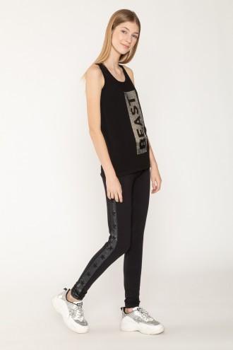 Czarne legginsy z nadrukami po bokach