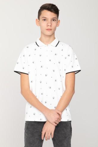 Biała koszulka polo w czaszki dla chłopaka