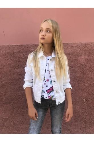 Biała kurtka dla dziewczyny