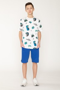 Biały chłopięcy T-shirt w nadruki GAMER