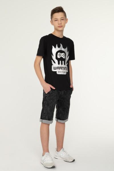 Czarny T-shirt dla chłopaka WARNING