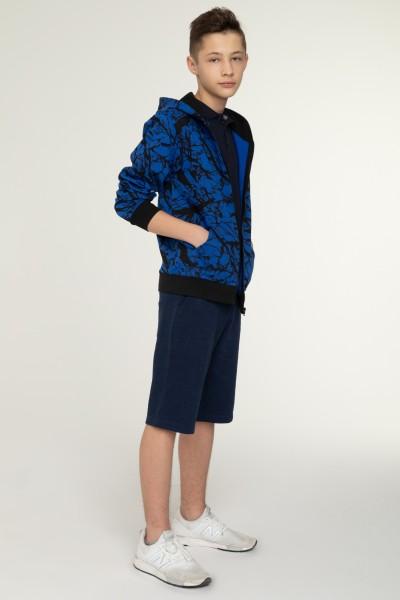 Niebiesko-marmurkowa bluza dla chłopaka WARNING