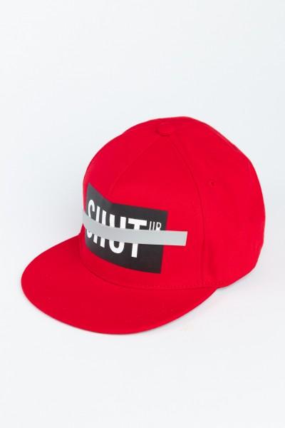 Czerwona czapka z daszkiem SHUT UP