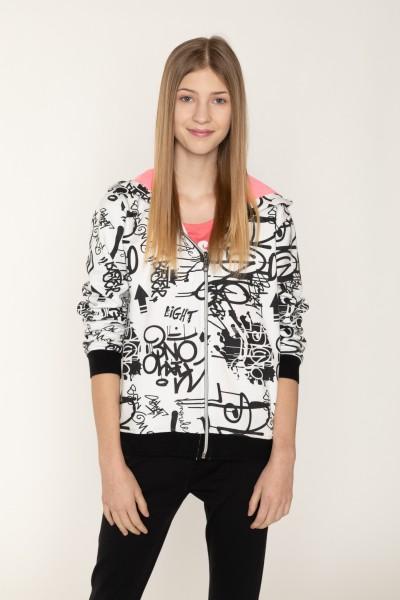 Biała bluza rozpinana dla dziewczyny GRAFFITI