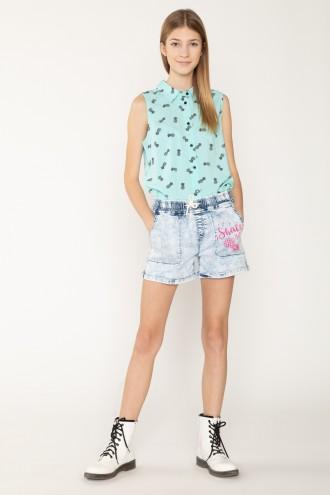 Jeansowe szorty z nadrukiem dla dziewczyny