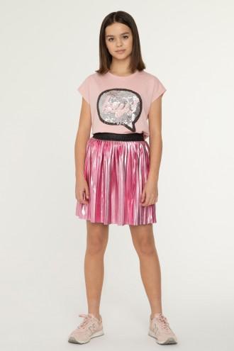 Połyskująca, różowa spódnica