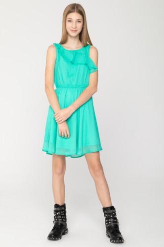 Seledynowa sukienka z falbanką