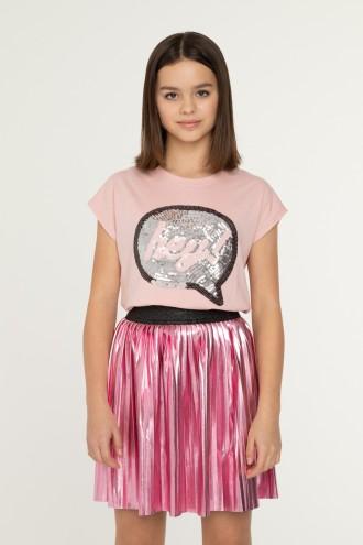 Różowy T-shirt z cekinami dla dziewczyny HEY