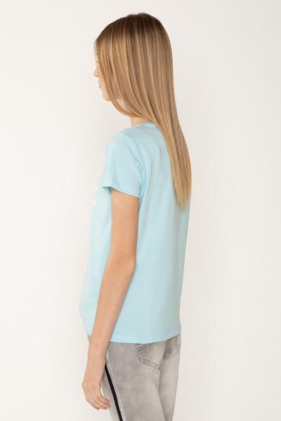 Błękitny T-shirt dla dziewczyny z brokatowym nadrukiem RISE