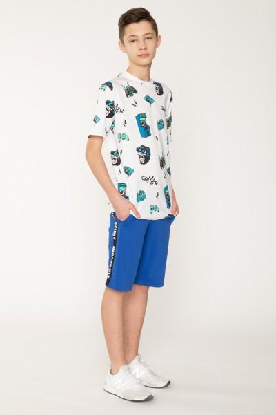 Krótkie, niebieskie spodnie dresowe z lampasami dla chłopaka