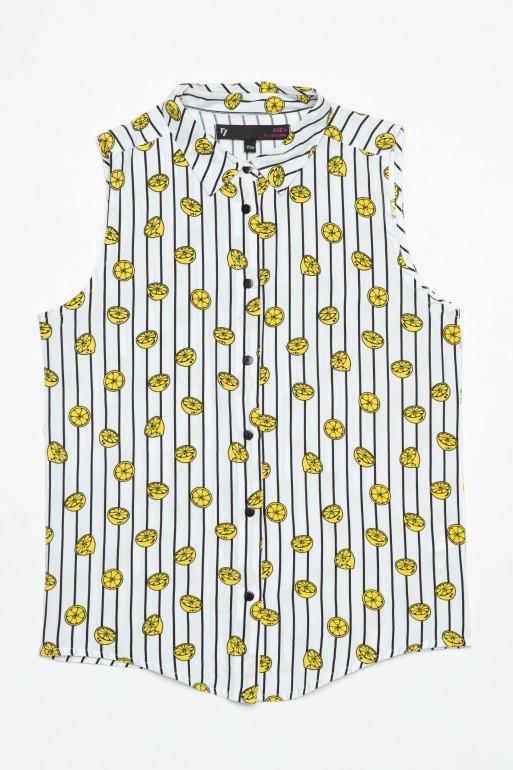 Koszula w paski bez rękawów zawiązywana w pasie LEMON