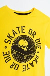 Żółty T-shirt dla chłopaka SKATE OR DIE