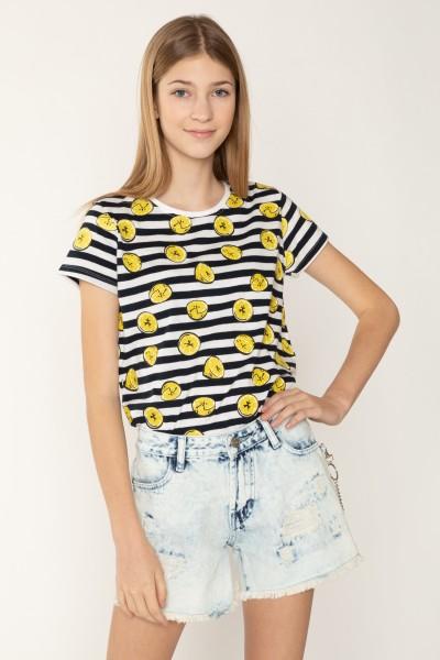 T-shirt w biało-czarne paski LEMON dla dziewczyny